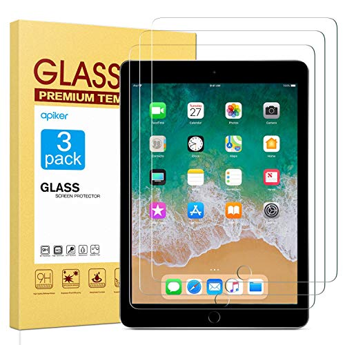 apiker [3 Stück] Schutzfolie für iPad 2018/iPad 2017/iPad Pro 9.7/iPad Air 2/iPad air, iPad 9.7 Panzerglas mit 9H Härte, Bläschenfrei, 2.5D abger&et Kante, mühelosanzubringen
