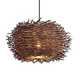 Shirley's Lampadari Plafoniera a nido d'uccello in idilliaco Lampadario a nido d'uccello in rattan chiaro Illuminazione a soffitto a nido d'uccello creativo Plafoniera vintage in rattan Lampadari, lam