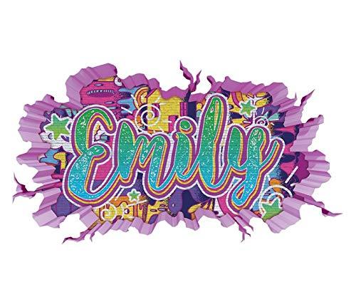 3D Wandtattoo Graffiti Emily Mädchen Name Wand Aufkleber Wanddurchbruch Girl sticker Wandbild Kinderzimmer 11U104, Wandbild Größe F:ca. 140cmx82cm