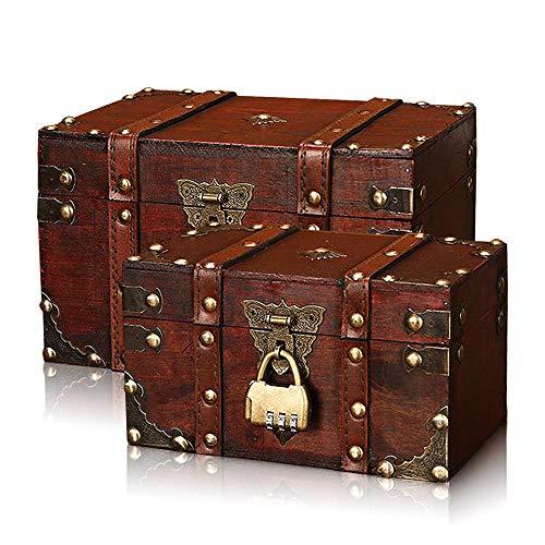 Holz Square Pirate Treasure Box mit Passwortsperre Foto-Aufbewahrungsbox Make-up Alte Box Kinder Geschenk Frauen Männer Mädchen für Schmuck Lagerung ()