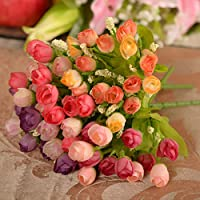 Hoobor House Fiore di simulazione di testa di 15 mini bouquet di rose primavera QQ Rosa Tea Rose shell star decorazione (viola) - Primavera Garland