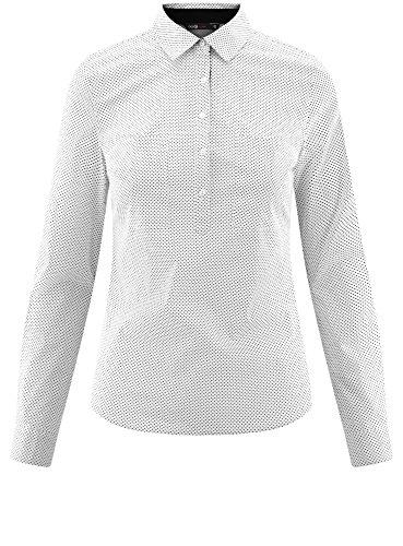 oodji Ultra Donna Camicia Basic con Tasche sul Petto Bianco (1229D)