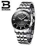 Binger Automatic Mechanical Sapphire Men's Wristwatch - B1176G-03 - Black