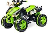 Caretero Toyz Elektro Raptor Kinderquad Quad Elektrofahrzeug Kinderfahrzeug mit 2 Motoren und LED Lichtern, Farbe:Green