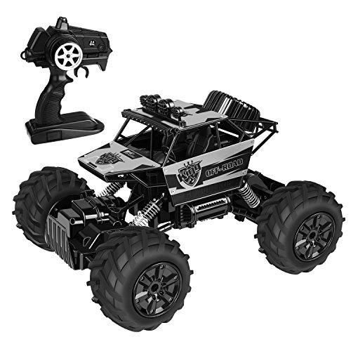 Amzdeal RC Auto ferngesteuertes Auto 4WD für jedes Terrain und im Wasser Benutzung 360°wasserdicht 1:12 Hochgeschwindigkeit 100{2a2c2b51becc58e7bb196e300bba490419f92d46822cb1bc1a5db9d9f7238cff} Simulation Monster Truck mit 2.4GHz Funkfernsteuerung Top stoßfestes System beste Weihnachtsgeschenk für Kinder(Silber)