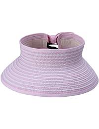 JTC Women Open Top Adjustable Bow Wide Brim Can Roll up Sun Hat Stripes Cap Visor Pink