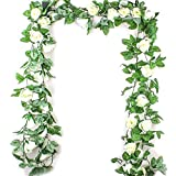 1 pz Simulazione Rosa Fiore Rattan Fiore Artificiale Vine Fiori Finti Seta Glicine Ghirlanda Hanging Rattan Rattan Flower Vine per Wedding Arch Casa e Giardino Decor (2.5M)