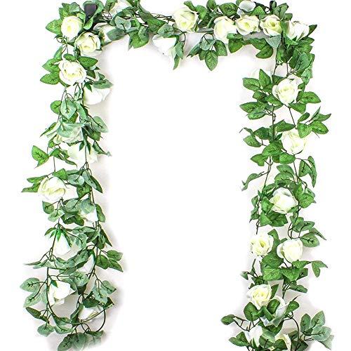 Hilai 2.5M Simulation Rose Fleur Artificielle Fleur de Vigne en rotin Soie Wisteria Garland Suspendu...
