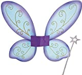 Elfen-Set, gold oder silber Stab mit Flügel lila, ideal für Karneval oder Mottoparty, Elfe (silber)