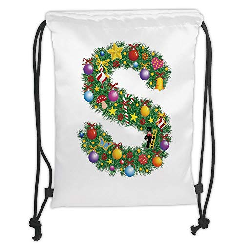 LULUZXOA Gym Bag Printed Drawstring Sack Backpacks Bags,Letter S,Pine Design Letter S Christmas Ornaments Colorful Balls Stars Multicolored Pattern Decorative