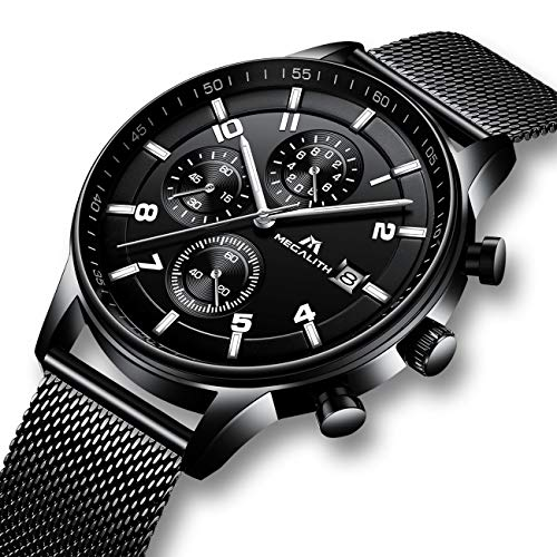 Reloj Hombres Relojes de Pulsera Militar Deportivo Impermeable Cronógrafo Luminosos Relojes de Acero Inoxidable Malla Calendario Analógico