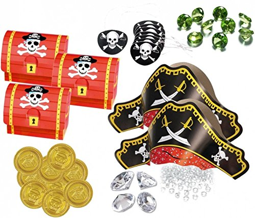 89 Teile Piraten Schatzsuche Set 8 Personen für die Schatzsuche zum Kindergeburtstag - Schatzkiste, Piratenhüte, Party (Piraten Set)