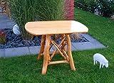 Ovaler Gartentisch aus Eiche hell ist 100 cm breit, wetterfest lädt zum Verweilen im Garten ein