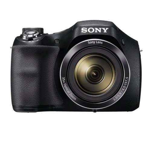 For Sale Sony DSC-H300 Digital Camera – Black + 16GB Memory Card + 4 AA Batteries and Charger (20.1MP, 35x Optical Zoom) 3 inch LCD