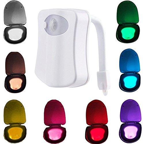 WC Nachtlicht Motion Sensor Toilette Led, W-top WC Licht mit 8 Farben Wechselnde LED Toilette Licht Sitzleuchte, Niedriger Energieverbrauch Nachtlicht für Kinder Eltern Badezimmer Hause (Automatische Top-off-system)
