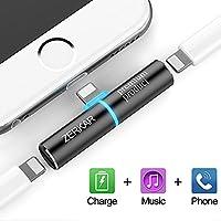 iPhone 7 Adapter Splitter, 2 in 1 Dual Lightning Headphone Audio & Charge Adapter for iPhone 7 7 Plus, iPhone 8 8 Plus, iPhone X (Black)ZERKAR