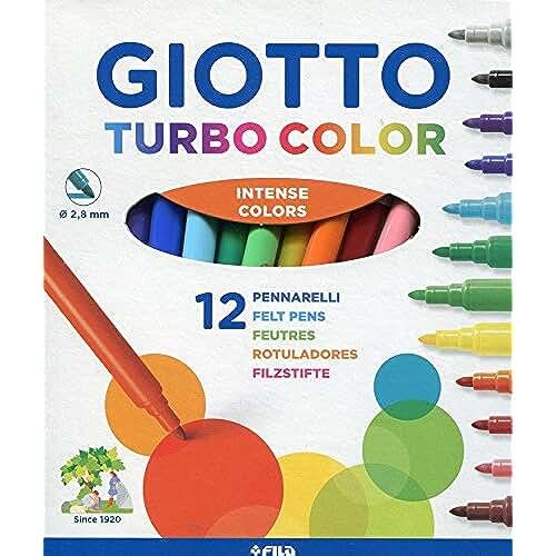 mas dibujos kawaii Giotto Turbo Color - Estuche 12 rotuladores de tinta inocua a base de agua, colores surtidos