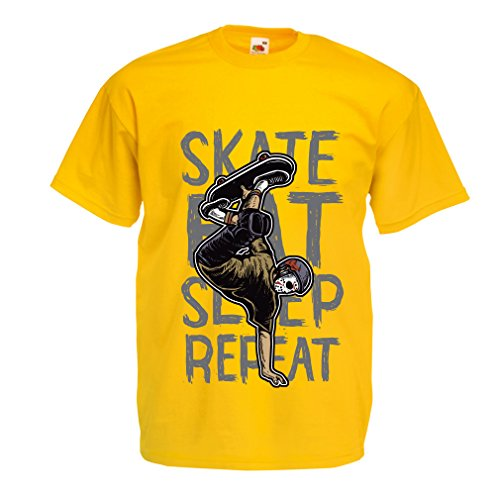 Männer T-Shirt Eat-Sleep-Skate-Repeat Fro Skateboard Liebhaber, Skateboarder Geschenke, Skateboarden Kleidung (XX-Large Gelb Mehrfarben)