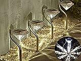 Lampade a picchetto in acciaio INOX, con lanterna ricaricabile ad energia solare a forma di diamante, lampade decorative notturne per giardino, bordure e patio, ecologiche, utili per piante palustri