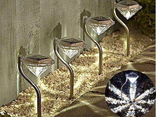 Edelstahl Solar-Leuchte Diamant dem Spiel Garten Grenze Laternen wiederaufladbar Night Light Dekorative Garten Terrasse Lampe Sun Powered ECO Mud Pflanzen (Solar Gate-leuchten)