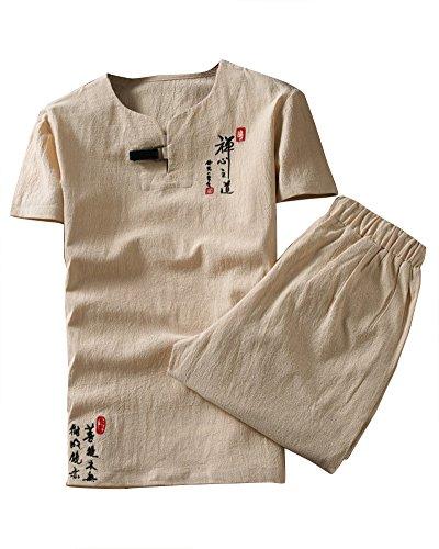 DianShaoA Herren Zweiteiliger Trainingsanzug Kurz Leinenhemd Stickerei Sportanzug 5XL Kaki