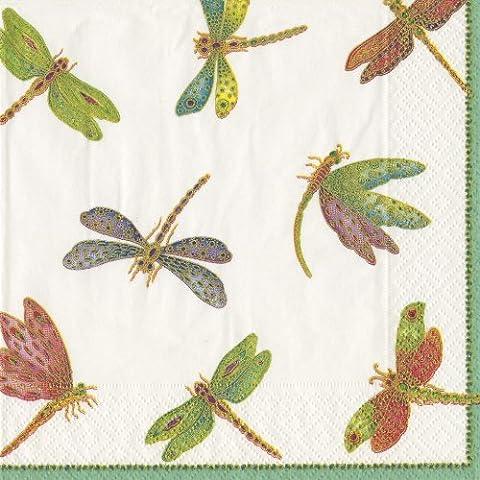 Caspari Inc. - Tovaglioli di carta, motivo a libellule, confezione da 20