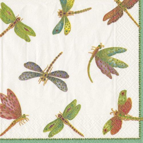Caspari 9860L Papierservietten dreilagig, 20 Stück 33 x 33 cm, Dragonflies Dragonfly Serviette
