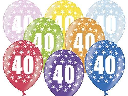 STRONG Ballons Globo LÁTEX Metalizado Impreso 360º con EL NÚMERO 40, Surtidos DE Color Pq 6 UND TAMAÑO 30CM DIAM. Especial para Decoraciones, Fiestas de cumpleaños, Aniversarios (40 AÑOS)