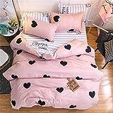 Flamingo Bettbezug Set, DOTBUY 4 Stück Super Weiche und Angenehme Mikrofaser Einfache Bettwäsche Set Gemütlich Enthalten Bettbezug Bettlaken & Kissenbezug Betten Schlafzimmer (Liebe - rosa, 200x230cm (2.0m))
