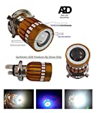 #7: A2D H4 Police Light Style Red & Blue 6000k Cree Projector LED Super Glow Stock Replacement LED Super & Low Beam Scooter/Scooty Headlight Bulb-White for Yamaha Ray Z