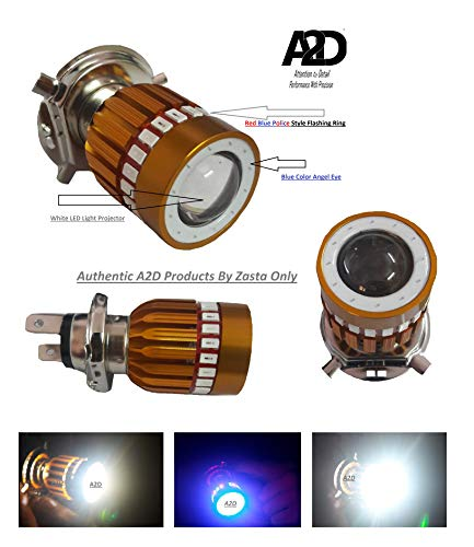 A2D H4 Police Light Style Red & Blue 6000k Cree Cree Projector LED Super Glow Stock LED Super & Low Beam Bike Headlight Bulb-White for Hero Splendor Pro Classic