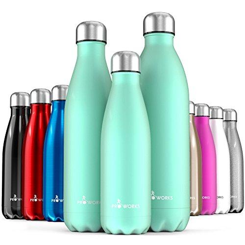 Proworks Edelstahl Trinkflasche | 24 Std. Kalt und 12 Std. Heiß - Premium Vakuum Wasserflasche - Perfekte Isolierflasche für Sport, Laufen, Fahrrad, Yoga, Wandern und Camping - 750ml - Grün - 1 Liter Metall-wasser-flasche