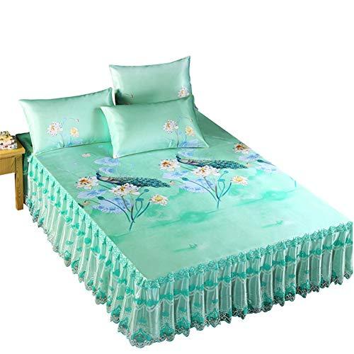 RUIDP Einfarbige bettvolant Spitze Seide aus Seide waschbar Polyester Sommer Doppelt Bett Rock Prinzessin Bett bettrock für Schlafzimmer elastische rüsche hautfreundlich Bequem -
