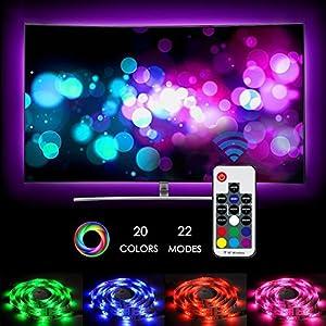 LED TV Hintergrundbeleuchtung, Zknen® RF Wireless Remote 20 Farben 22 Modi USB TV Beleuchtung LED Stripes Lichterkette Streifen LED 2m Bunt inkl Fernbedienung inkl Farbwechsel Selbstklebend (2m LED)