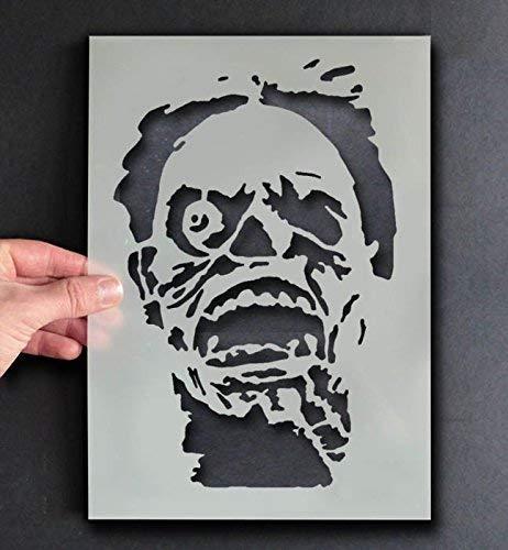 Monster Gesicht Zombie Head Schablone | Halloween Dekor & Basteln Schablone | Farbe & Gestalte Zeichen,Wände, Stoffe, Möbel | Wiederverwendbar... - 53x80cm (Für Halloween Zeichen 80)