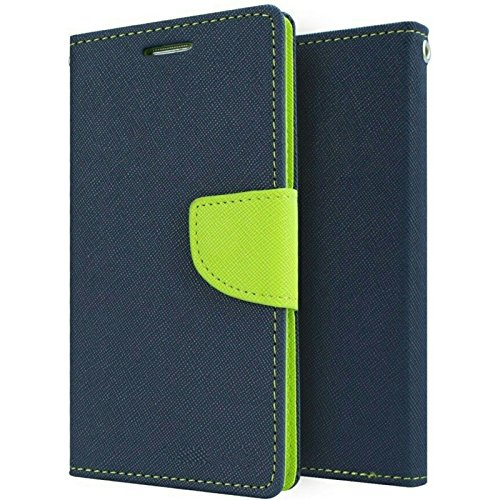 Americhome Stylish Luxury Flip Cover Magnetic Lock Diary Wallet Style Flip Cover Case for Redmi 3S (Blue)