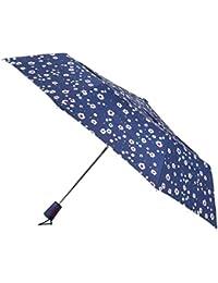 totes Auto Open Double Canopy Navy Dotty Daisy Umbrella (3 Section)