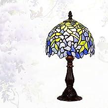Lámpara de Tiffany estilo/Continental de lámpara de mesa creativos vintage/Lámpara de noche dormitorio Living comedor/ Lámpara de vidrio decorativo de Wisteria-A