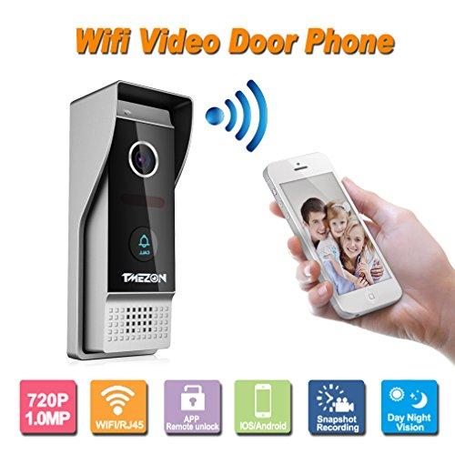 TMEZON Wireless/Wired Wifi IP Video Türsprechanlage Türklingel Intercom Entry System 720P 1.0MP Kamera Nachtsicht, Unterstützung Remote Entriegelung, Aufnahme, Schnappschuss Wireless Türklingel Kamera Video