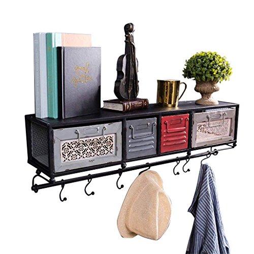 Étagère murale en métal avec tiroirs pour salon | LOFT - Étagère murale en forme de cube pour chambre à coucher comme étagère de rangement pour étagère | Floating Unit Frame comme décoration murale Design Vintage style industriel (Noir)