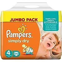 Pampers Simply Dry, 148 Pannolini, Taglia 4 (7-18 kg), 2 confezioni da 74