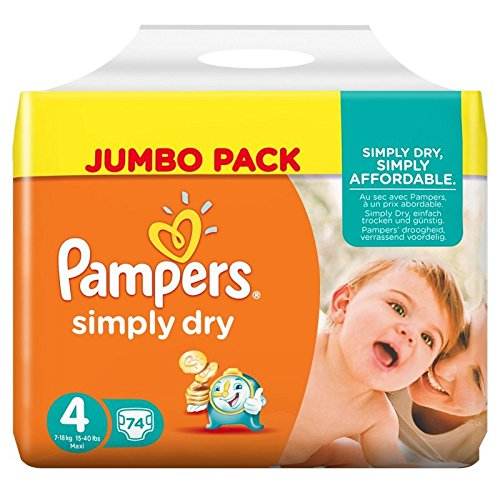 Pampers Simply Dry Maxi 4 74pc(s) - diapers (Universal, Disposable diaper, Multi, Plastic bag)