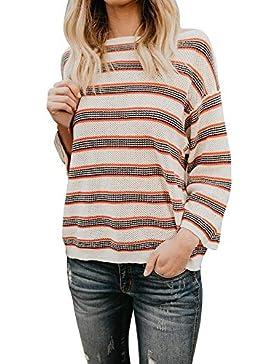 [Patrocinado]Prendas de Punto,ZARLLE Mujer Jersey de Punto Primavera Mujer Tejer Suéter de Manga Larga Sueltas Color Empalme...