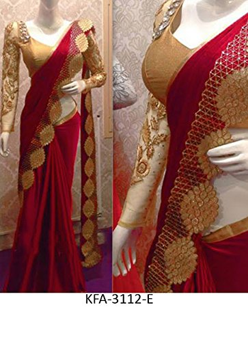 Isha Enterprise Nylon Silk Saree (Kfa-3112-E_Red)