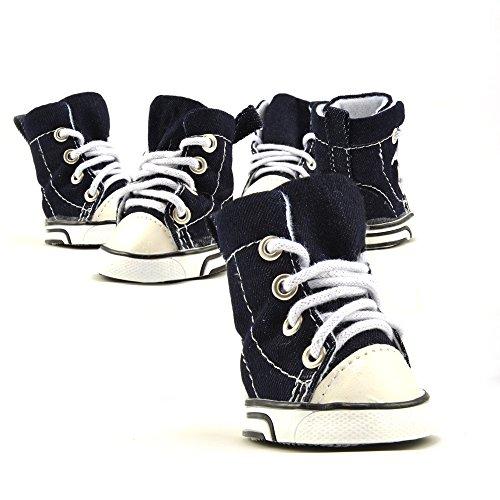 Hundeschuhe, Outdoorschuhe Jeans Sneakers blau-weiß mit Schuhbänder S
