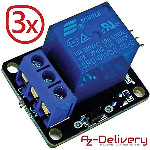 AZDelivery ⭐⭐⭐⭐⭐ 3 x 1-Relais KY-019 Modul High-Level-Trigger für Arduino -