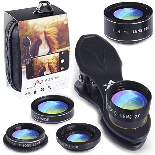 Kit de cámara lentes 5-en-1 para Smartphones con Clíp suave y firmemente y bolsa de viaje, el mejor complemento para la calidad fotográfica