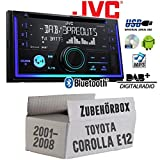 Toyota Corolla E12/120 - Autoradio Radio JVC KW-DB93BT - 2-Din DAB+ Bluetooth MP3 USB - Einbauzubehör - Einbauset