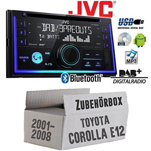 Autoradio Radio JVC KW-DB93BT - 2-DIn DAB+ Bluetooth MP3 USB - Einbauzubehör - Einbauset für Toyota Corolla E12/120 - JUST SOUND best choice for caraudio