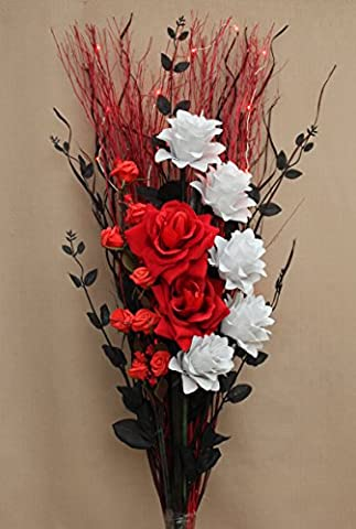 LUXURY ARTIFICIAL SILK MIXED RED ROSES, OFF WHITE FLOWERS, GRASSES BOUQUET WITH LED BATTERY LIGHTS (95CM